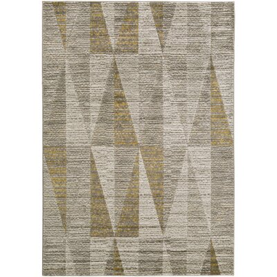 Lundgren Light Gray/Gold Area Rug Rug Size: 52 x 76