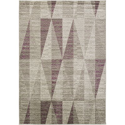 Lundgren Light Gray/Eggplant Area Rug Rug Size: Rectangle 76 x 106