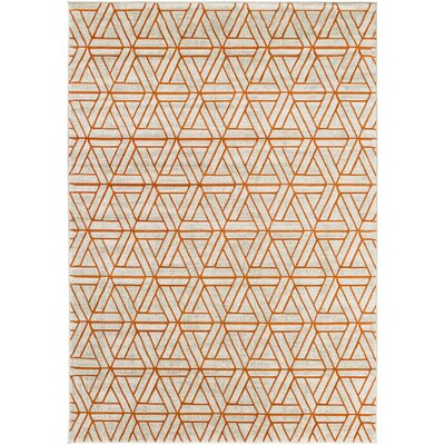 Ginsberg Light Gray/Burnt Orange Area Rug Rug Size: 76 x 106