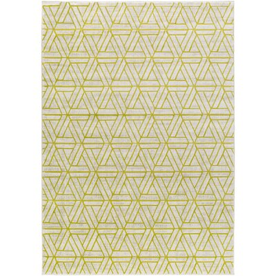 Ginsberg Light Gray/Lime Area Rug Rug Size: Rectangle 76 x 106