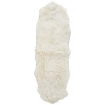 Allison Hand-Woven Faux Sheepskin White Area Rug Rug Size: Runner 2 x 9