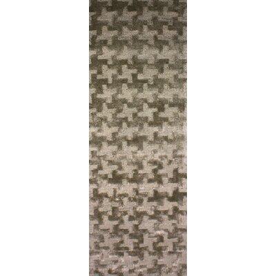 Tobias Hand-Woven Khaki Area Rug Rug Size: Runner 26 x 8