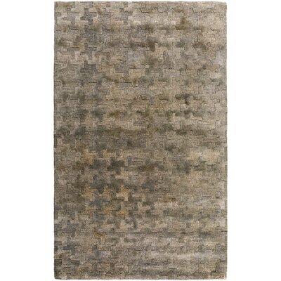 Tobias Hand-Woven Khaki Area Rug Rug Size: 4 x 6