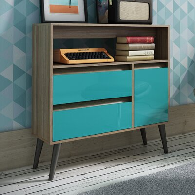 Carneal End Table Finish: Oak/Aqua