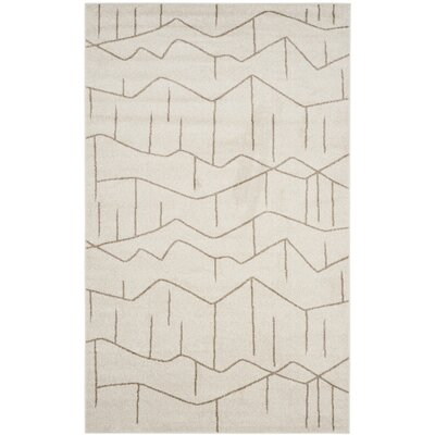 Dunclug Ivory/Grey Indoor/Outdoor Area Rug Rug Size: 5 x 8