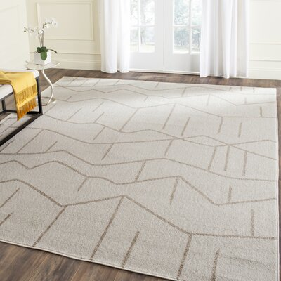 Dunclug Ivory/Grey Indoor/Outdoor Area Rug Rug Size: Rectangle 5 x 8