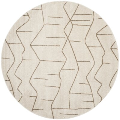 Dunclug Ivory/Grey Indoor/Outdoor Area Rug Rug Size: Round 7