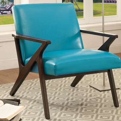 Shankill Faux Leather Arm Chair Upholstery - Color: Blue