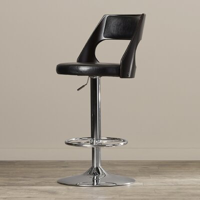 Conejara Adjustable Height Swivel Bar Stool Finish: Wenge Wood
