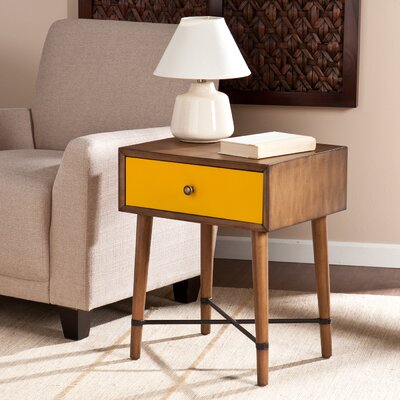 Rashee End Table With Storage Color: Yellow