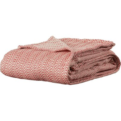 Barmeen Chevron Egyptian Quality Cotton Blanket Size: Full / Queen, Color: Brick