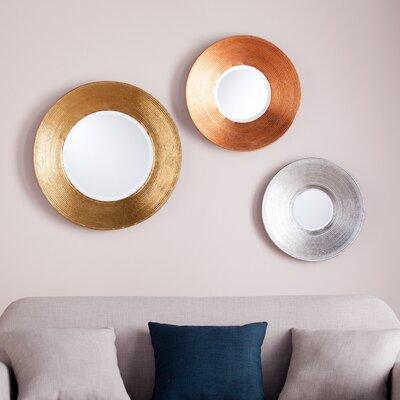 3 Piece Metallic Wall Mirror Set