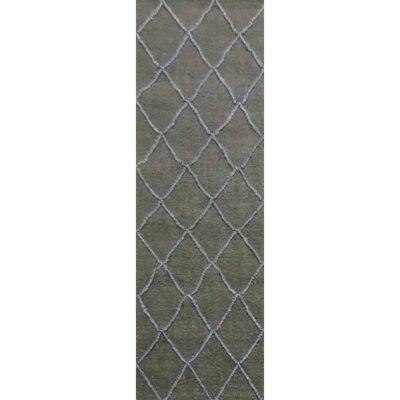 Devan Hand-Woven Olive/Slate Area Rug Rug Size: Runner 26 x 8