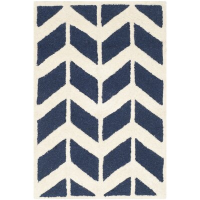 Esperance Navy / Ivory Area Rug Rug Size: Rectangle 2 x 3