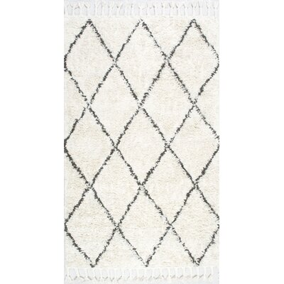 Twinar Hand Knotted  Black Area Rug Rug Size: 6' x 9'