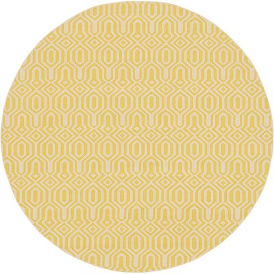 Seattle Yellow Area Rug Rug Size: Round 8'