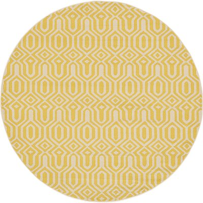 Seattle Yellow Area Rug Rug Size: Round 6'