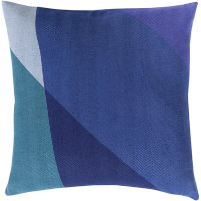 Goldwin Cotton Throw Pillow Size: 22 H x 22 W x 4 D, Color: Cobalt, Filler: Down