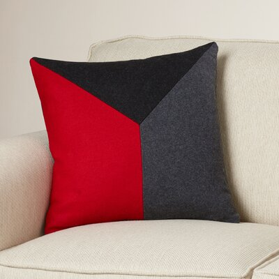 Estaban Wool Throw Pillow Size: 22 H x 22 W x 4 D, Color: Cherry/Black/Gray
