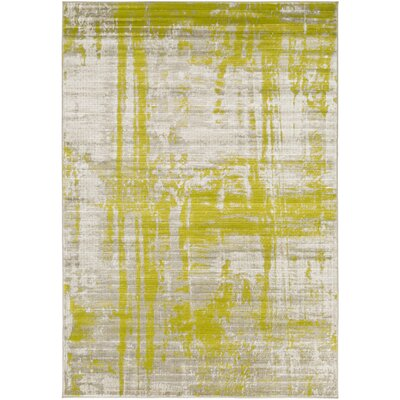 Dahl Light Gray/Lime Area Rug Rug Size: 76 x 106