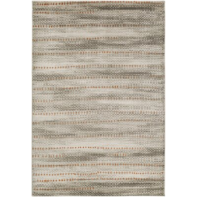 Burroughs Light Gray/ Burnt Orange Area Rug Rug Size: 76 x 106
