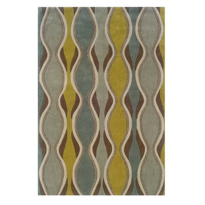 Patin Hand-Tufted Chocolate / Spa Blue Area Rug Rug Size: 110 x 210