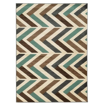 Halvard Ivory/Turquoise Area Rug Rug Size: Rectangle 5 x 7