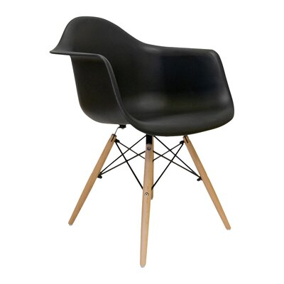 Brook Modern Solid Wood  Arm Chairs Finish: Natural, Upholstery: Black