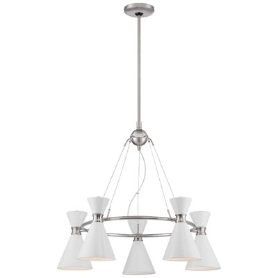 Ibsen 5-Light Shaded Chandelier Shade Color: Glitter Gloss White
