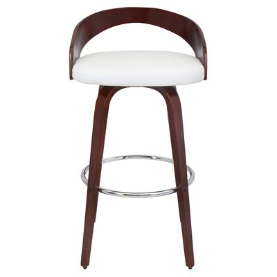 Wright 30 Swivel Bar Stool Finish: Zebra, Upholstery: White