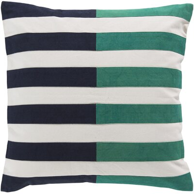 Mayne Cotton Throw Pillow Color: Green, Size: 22 H x 22 W x 4 D, Filler: Down