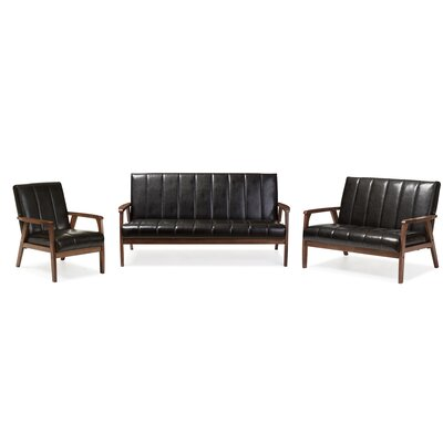 Kinley 3 Piece Living Room Set Color: Black