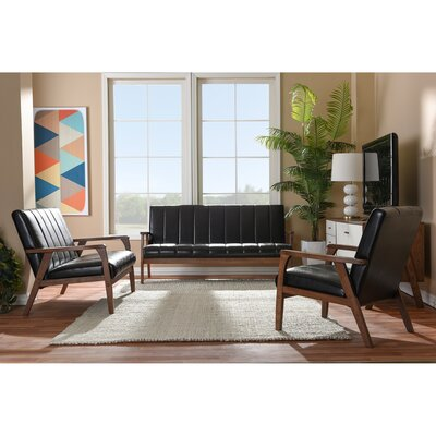 Kinley 3-Piece Sofa Set Color: Brown