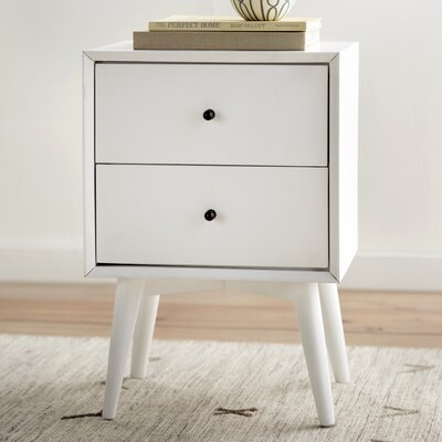 Parocela 2 Drawer Nightstand Color: White