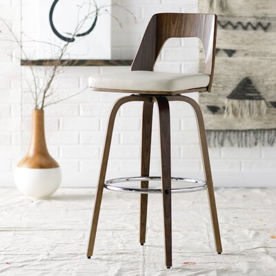 30 Swivel Bar Stool with Cushion Upholstery: White