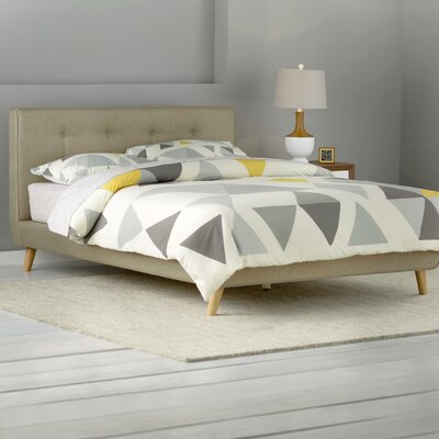 Rasmussen Upholstered Platform Bed Color: Beige, Size: King