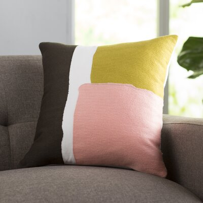 Chandler 100% Cotton Throw Pillow Size: 18 H x 18 W x 4 D, Color: Lime / Pale Pink / Dark brown / White