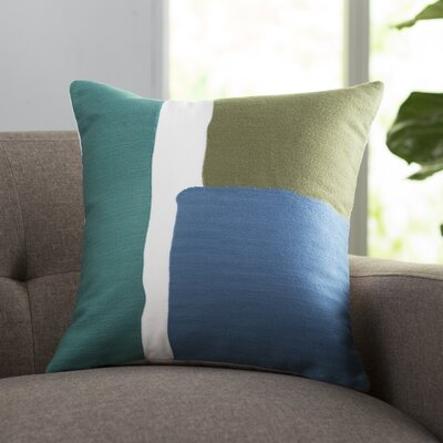 Chandler 100% Cotton Throw Pillow Size: 18 H x 18 W x 4 D, Color: Grass green / Teal / Dark Blue / White