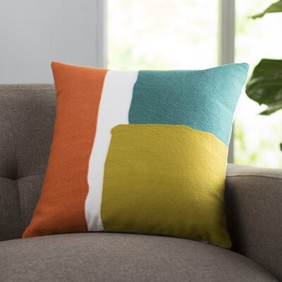Chandler 100% Cotton Throw Pillow Size: 22 H x 22 W x 4 D, Color: Teal / Gold / Coral / White