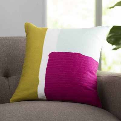 Chandler 100% Cotton Throw Pillow Size: 18 H x 18 W x 4 D, Color: Light Gray / Lime / Bright Pink / White