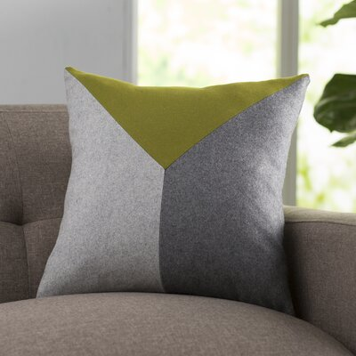 Snyder Wool Throw Pillow Color: Lime/Gray/Light Gray, Size: 22 H x 22 W x 4 D