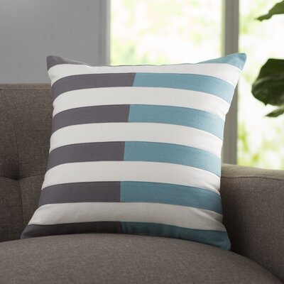 Mayne Cotton Throw Pillow Size: 22 H x 22 W x 4 D, Color: Blue, Filler: Down