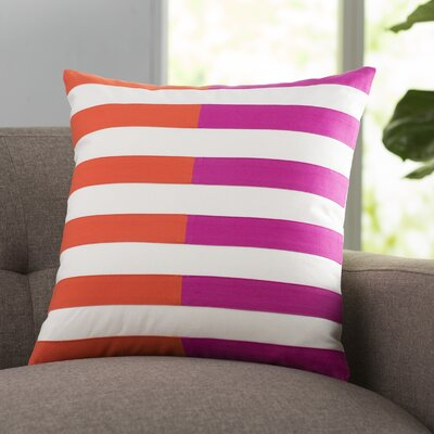 Mayne 100% Cotton Throw Pillow Size: 20 H x 20 W x 4 D, Color: Pink, Filler: Polyester