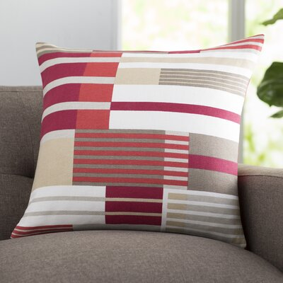 Tevin 100% Cotton Throw Pillow Size: 20 H x 20 W x 4 D, Color: Hot Pink, Filler: Polyester
