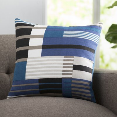 Campbell Cotton Throw Pillow Size: 22 H x 22 W x 4 D, Color: Cobalt, Filler: Down