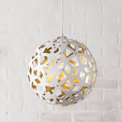 Terraza 1 Light Globe Pendant Finish: White, Shade Color: Gold, Size: 22