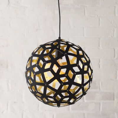 Terraza 1 Light Globe Pendant Shade Color: Gold, Finish: Black, Size: 22