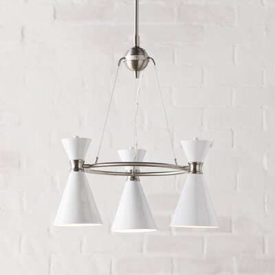 Ibsen 3-Light Mini Chandelier Shade Color: Glitter Gloss White