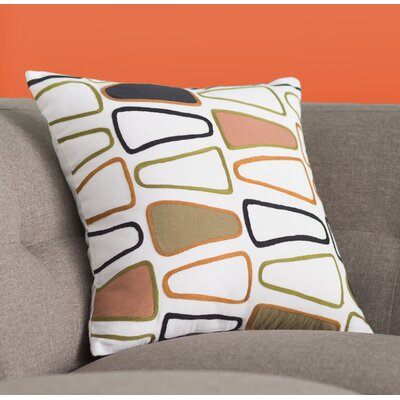 Geddes Cotton Throw Pillow Size: 18 H x 18 W x 4 D, Color: Olive/Rust/Charcoal/Ivory/Salmon