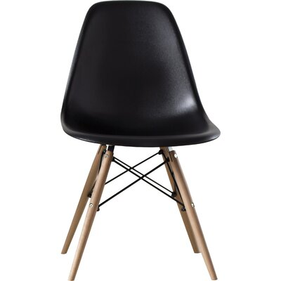 Brook Modern Solid Wood Dining Chair Finish: Black Natural